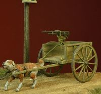 WWI Dog-drawn Cart with Hotchkiss Machine Gun