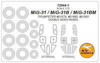 MiG-31 / MiG-31B / MiG-31M (Trumpeter) - (double sided) + wheels masks